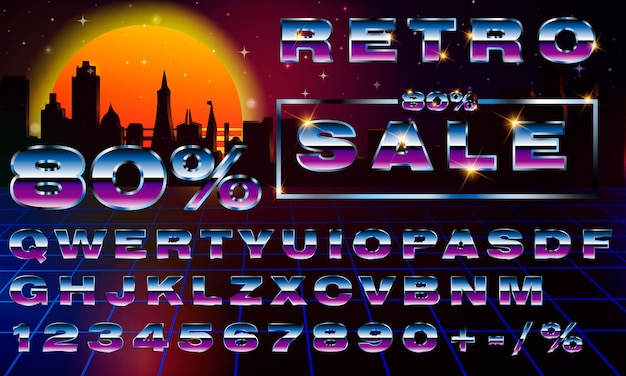 Fancy retrofuturistic neon typography font  synthwave