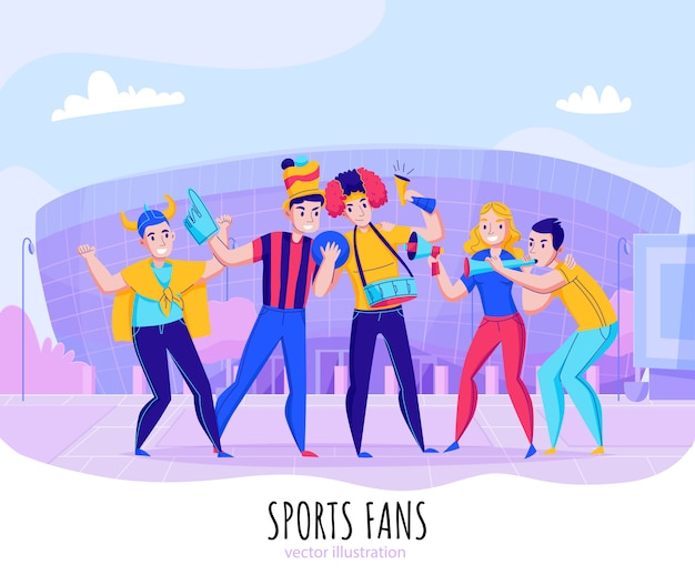 Fans cheering team composition with group of people pose on stadium background  illustration Free Vector
