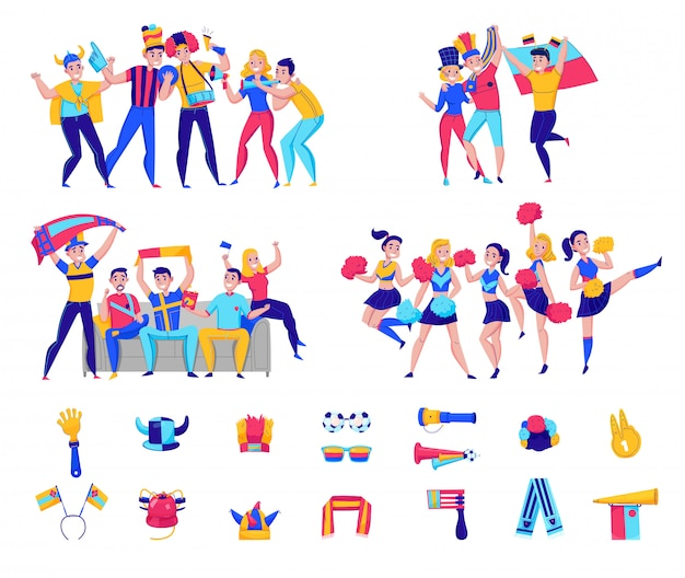 Fans cheering team icon set with groups of people and football attributes cheering for the team  illustration Free Vector