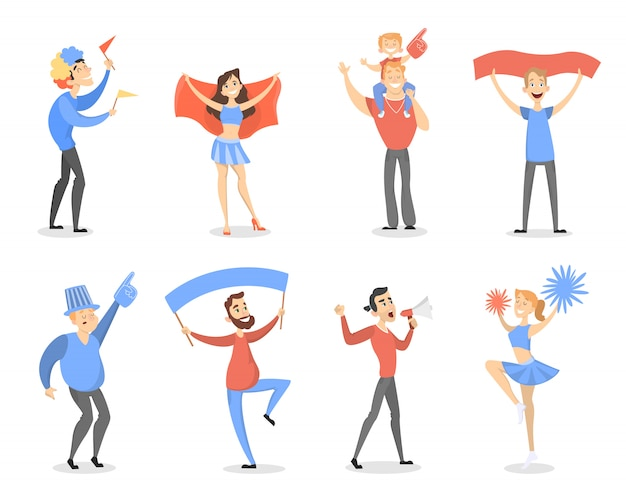 Fans set with banners, megaphones and wigs. Premium Vector