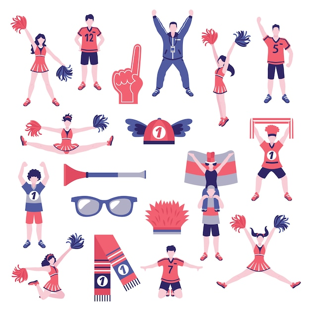 Fans supporters flat icons collection Free Vector