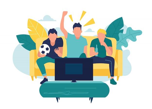 ファンがテレビで試合の生放送を見て、チームを応援します。フラットスタイルのイラスト Premiumベクター