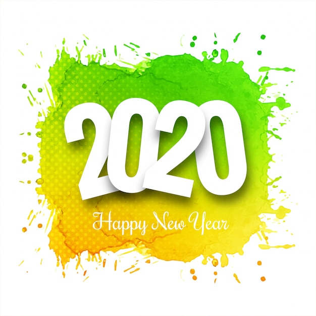 Fantastic 2020 New Year Celebration Card Template Vector