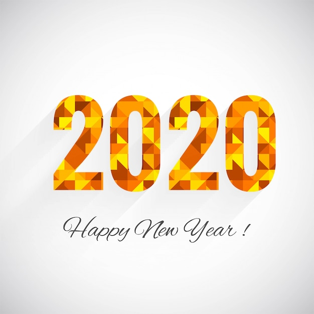 modele carte de voeux 2020 Fantastic 2020 new year text celebration greeting card template