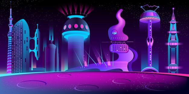 Fantastica città aliena Vettore gratuito