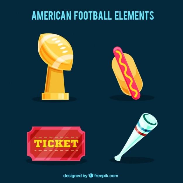 Oggetti di football americano fantastic Vettore gratuito