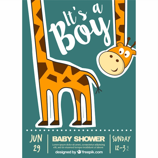 Fantastic baby shower invitation with an happy giraffe Free Vector