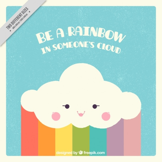 Fantastic background of cloud with rainbow Free Vector