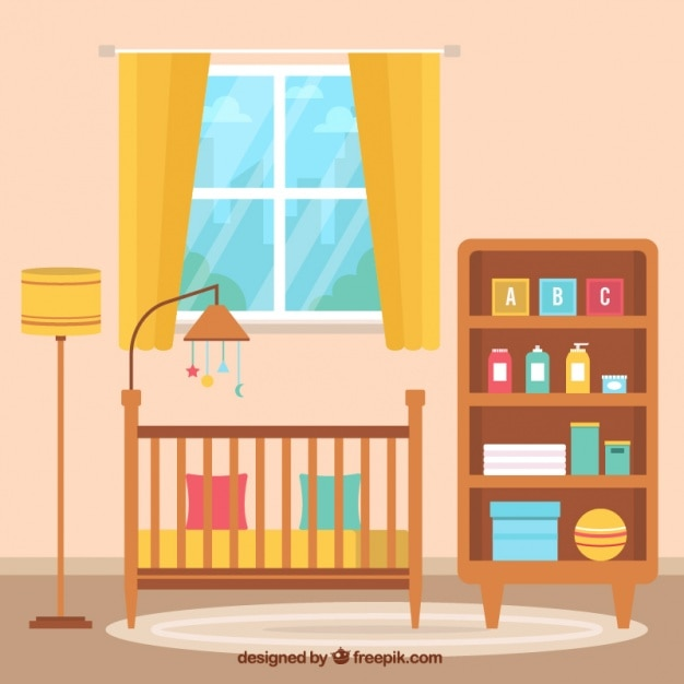 Fantastic background of flat baby room Free Vector