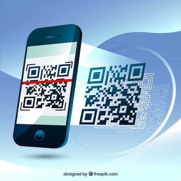 Fantastic background of mobile phone scanning a qr code Free Vector
