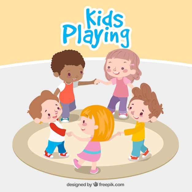fantastic background of children playing together - Cartoon Picture Of Children
