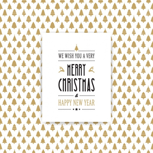 Fantastic background of golden christmas trees Free Vector