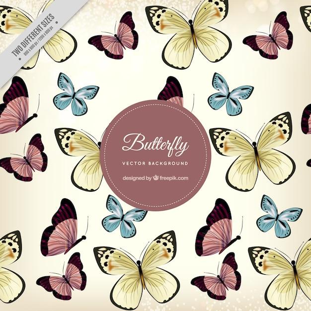かわいい蝶の幻想的な背景 無料ベクター