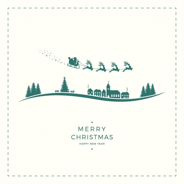 Fantastic background with christmas silhouettes Free Vector
