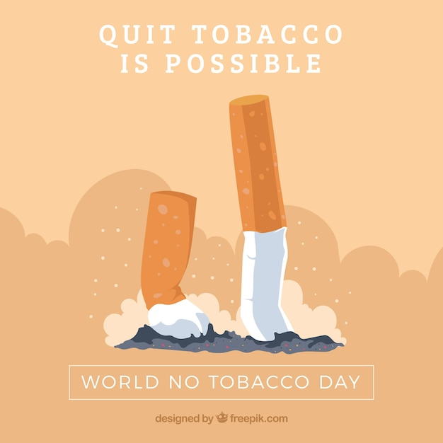 Fantastic background with crushed cigarettes Free Vector