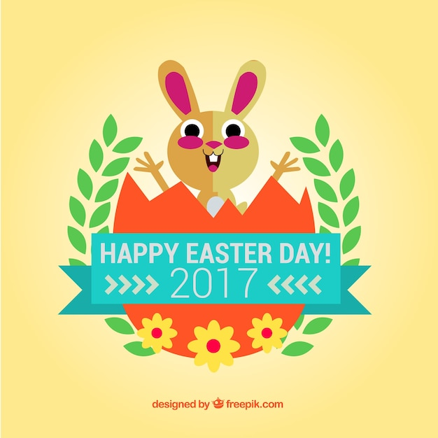 Fantastic background with cute easter bunny in flat design