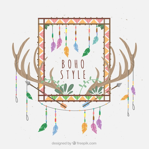 Fantastic background with ethnic decoration and antlers Free Vector
