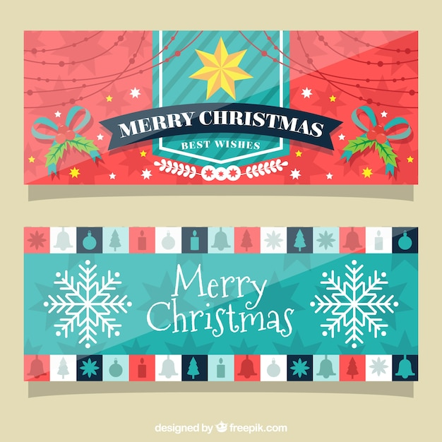 Fantastic banners with christmas elements Free Vector