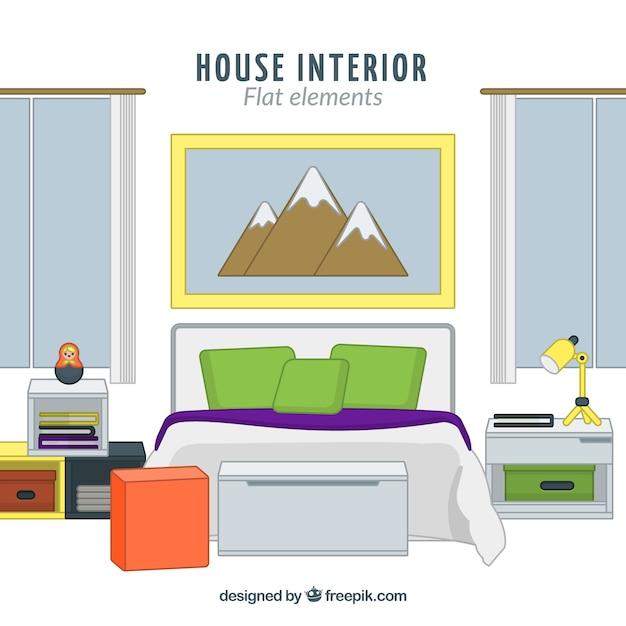 Fantastic Bedroom In Flat Design Vector