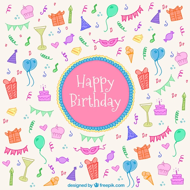 Fantastic birthday background with colored elements Vector ...