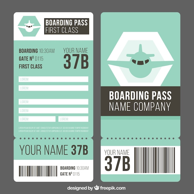 Fantastic boarding pass template in flat design Vector   Free Download