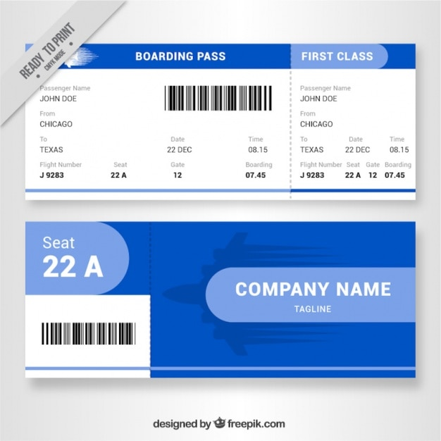 Fantastic Boarding Pass With Blue Details Vector Free Download