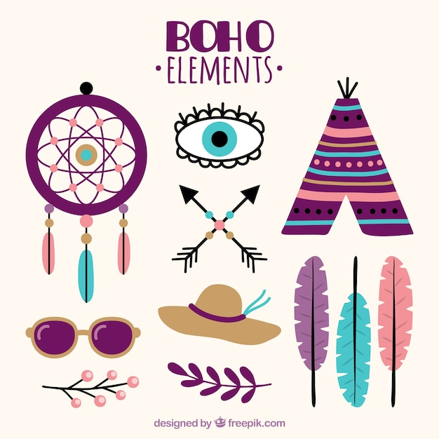 Fantastic Boho Elements In Flat Design Free Vector