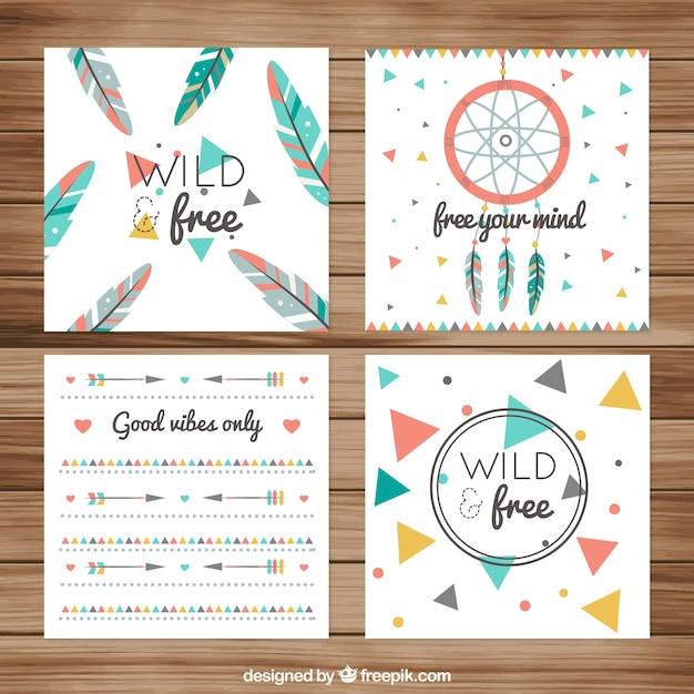 Fantastic boho greeting cards with flat elements vector free download fantastic boho greeting cards with flat elements free vector m4hsunfo