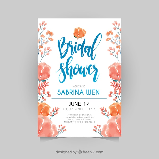Fantastic bridal shower invitation with watercolor flowers Free Vector
