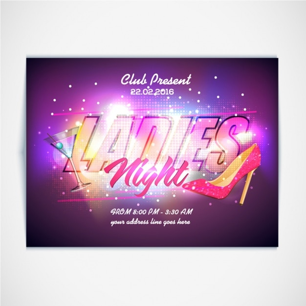 Fantastic brochure for ladies night Premium Vector