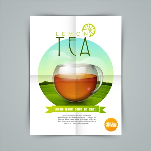 Fantastic brochure with lemon tea Vector | Premium Download