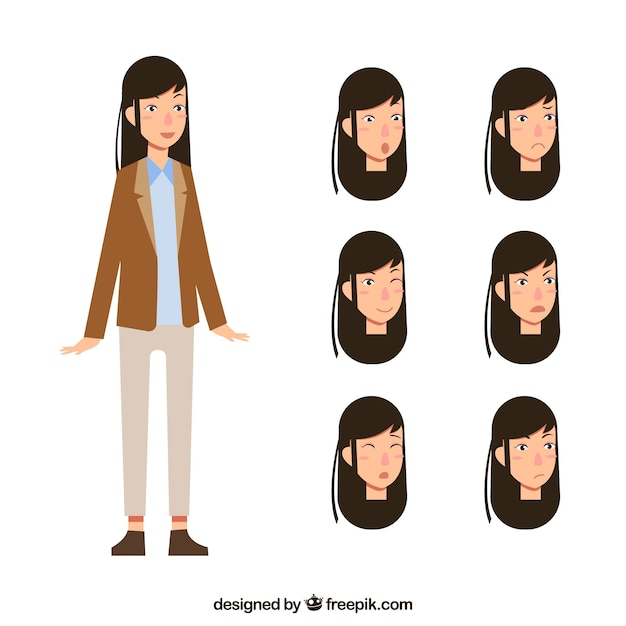 Fantastic businesswoman with variety of facial\ expressions