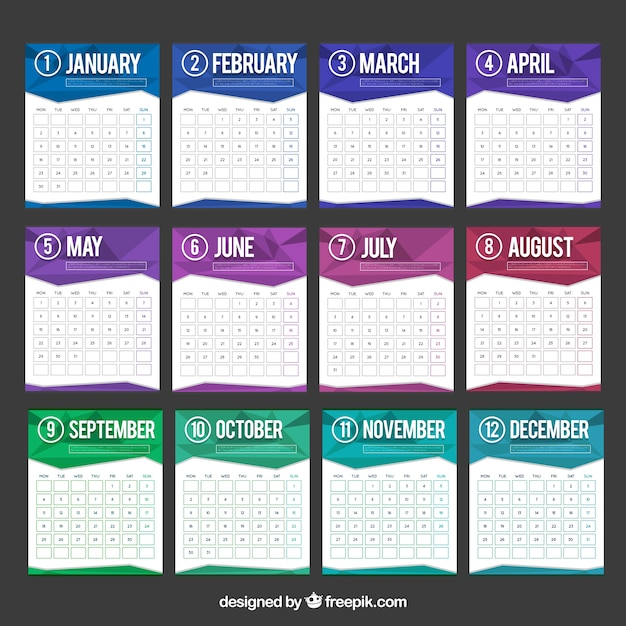 Fantastic calendar template with colorful polygons