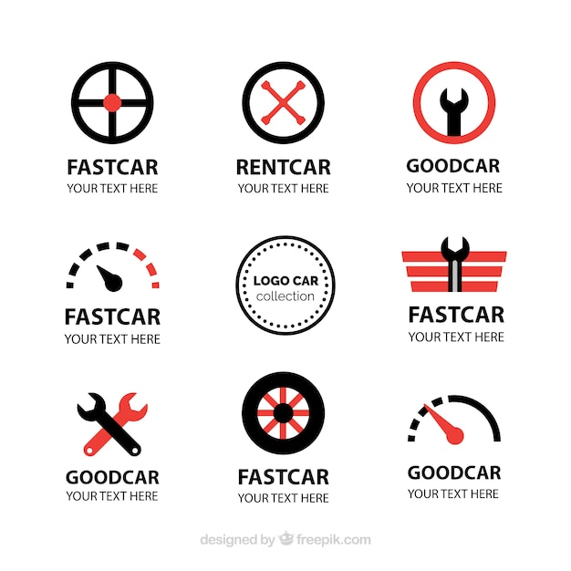 Fantastic car logos with red details Free Vector