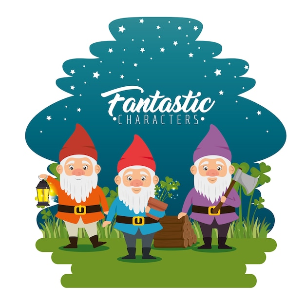 Fantastic character dwarf cartoon Premium Vector