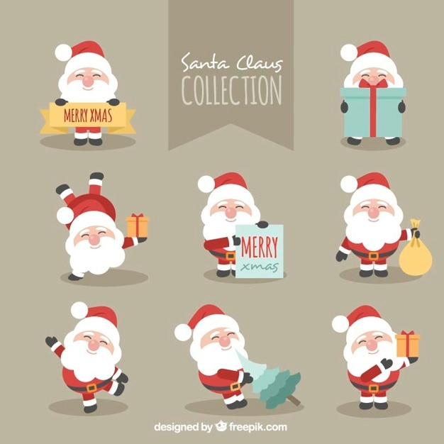 Fantastic character pack of smiling santa claus Free Vector