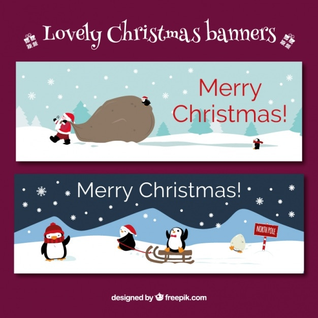 Fantastic christmas banners with penguins