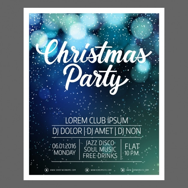 Fantastic Christmas Poster Template With Bokeh Effect Vector