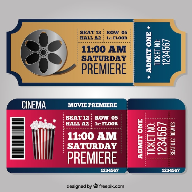 Fantastic cinema tickets in realistic style Free Vector
