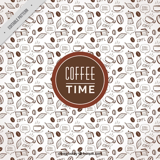 Fantastic coffee pattern with decorative items Free Vector