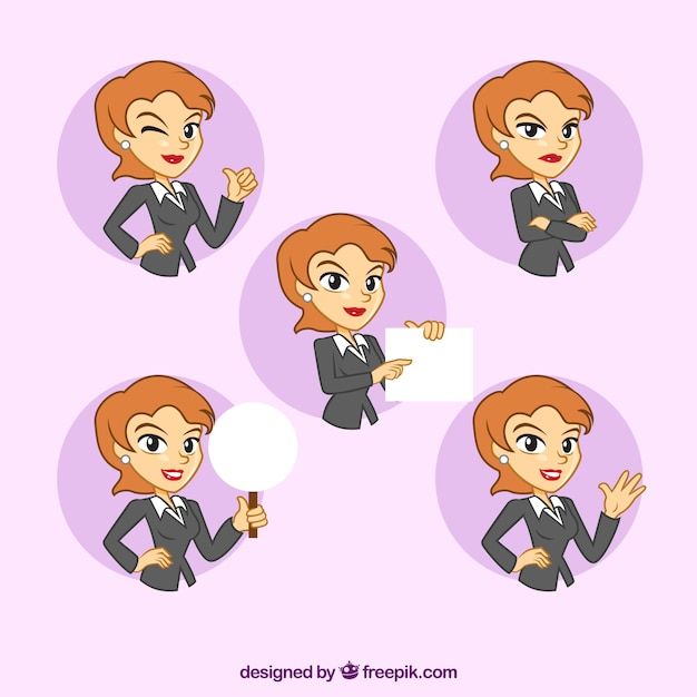 Fantastic collection of businesswoman character with facial expressions Free Vector