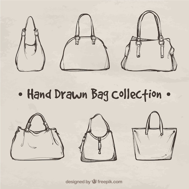 Fantastic collection of hand-drawn bags Free Vector
