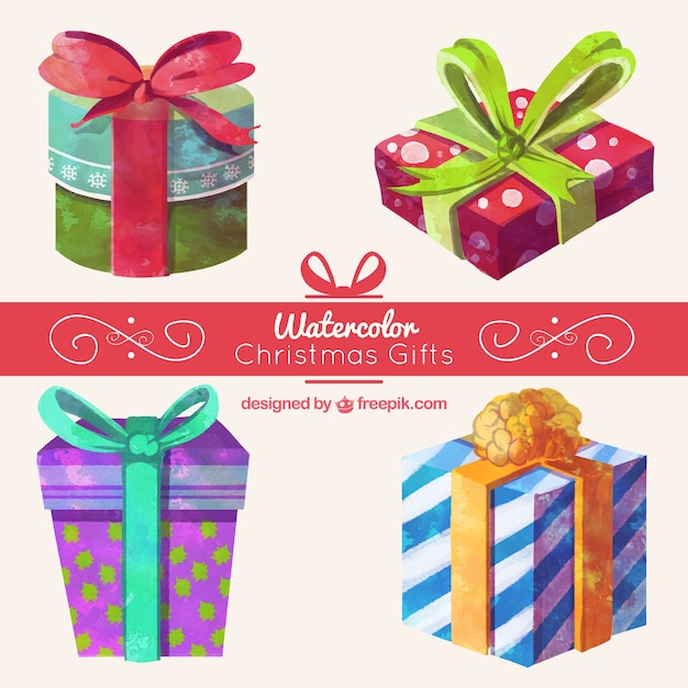 Fantastic collection of christmas gifts in watercolor style Free Vector