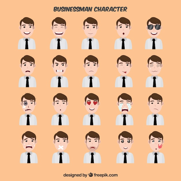 Fantastic collection of expressive businessman\ character