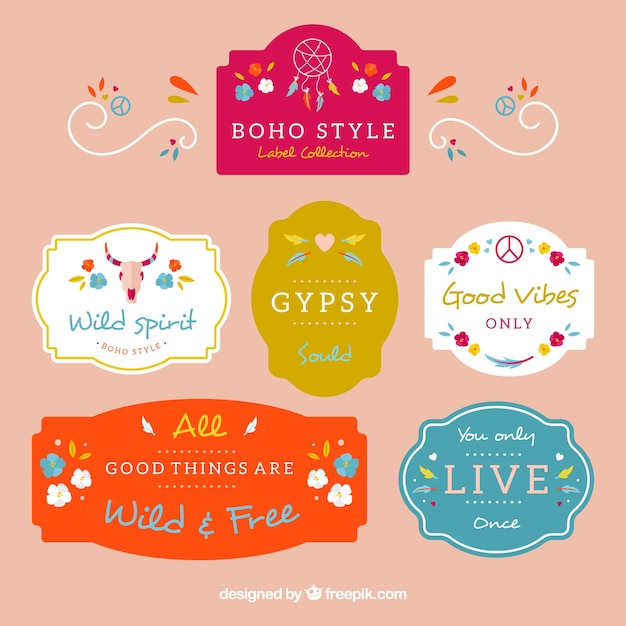 Fantastic colorful labels with ethnic elements Free Vector
