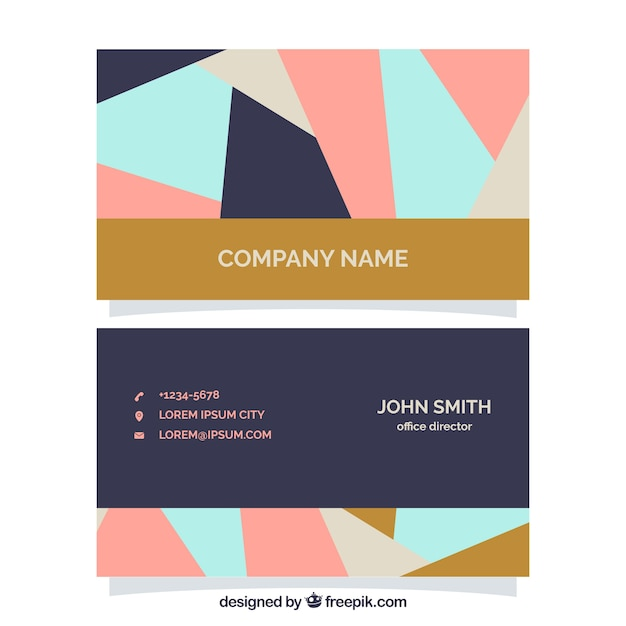 Fantastic corporate card in geometric style Free Vector
