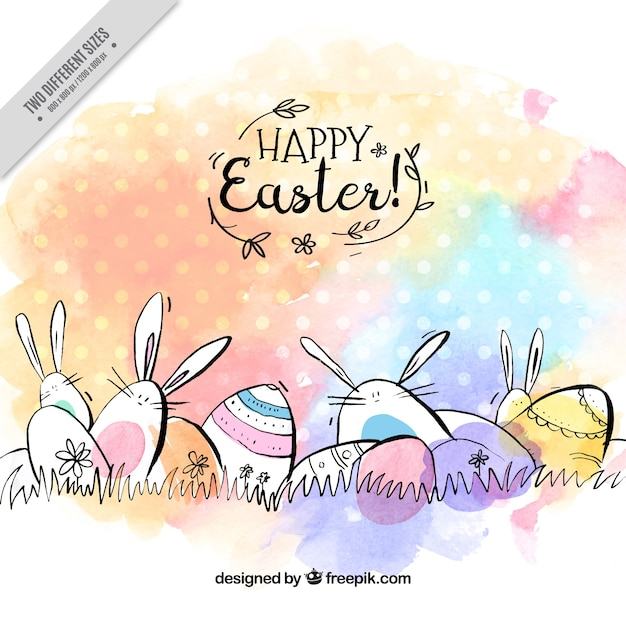 Fantastic easter background with eggs and rabbits in watercolor style Free Vector