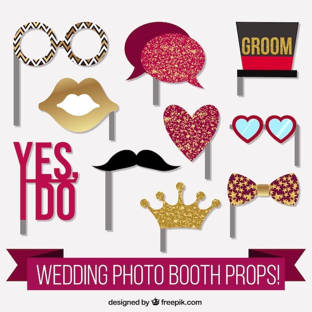 Elementi fantastici per cabina di foto di nozze Vettore gratuito