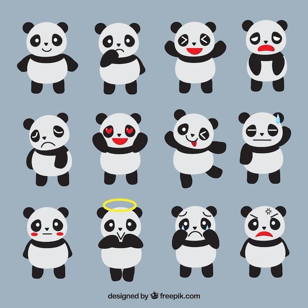 Fantastic emoticons of panda Free Vector