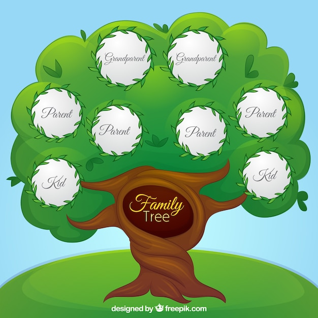 fantastic family tree with different generations vector free download